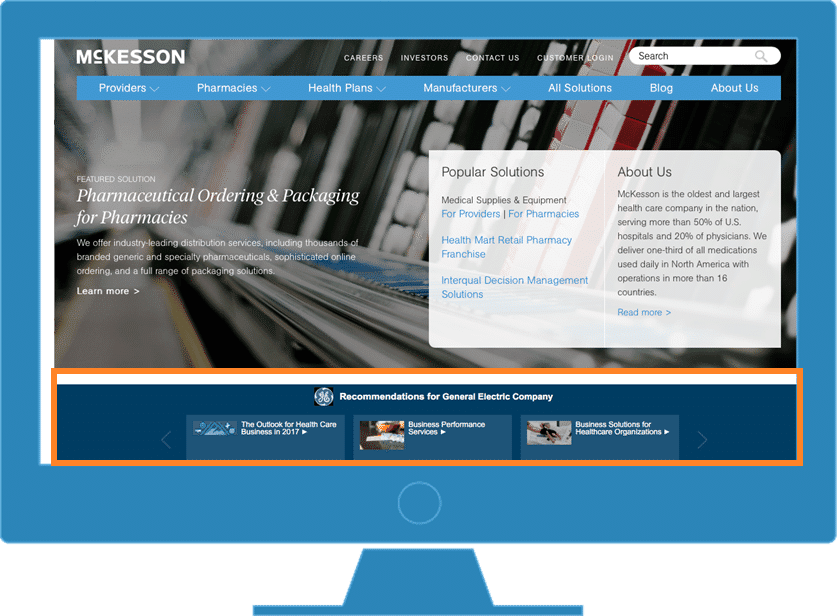 Example of a website using Demandbase Site Optimization to display recommended content